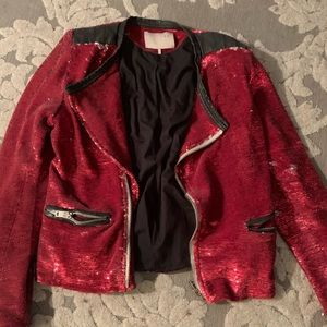 Iro leather and sequin jacket
